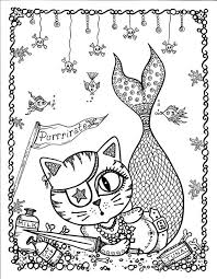 Cat Mermaid Coloring Pages