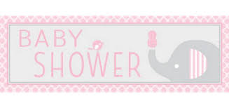 Giant Pink Baby Elephant Baby Shower Banner