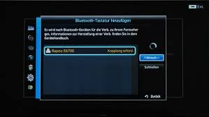 samsung tv bluetooth. button on the bluetooth keyboard, then we go for samsung device manager/keyboard settings within tv menu. now click refresh or search and tv a