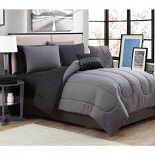 geneva home fashion solid 9 piece gray black queen bed in a bag sol9pcquenghbk the home depot
