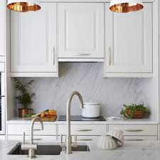 Kitchen White Traditional Kitchen With Copper Pendant