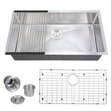 voilamart 33 x18 16 gauge single bowl handmade stainless steel kitchen sink undermount topmount flushmount w roll mat bottom grid