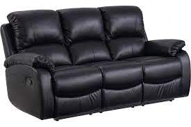 roma black leather recliner 3 seater