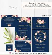 navy wedding invitation template, boho chic wedding invitation Editable Pdf Wedding Invitations navy wedding invitation template, boho chic wedding invitation suite, floral wedding set, , editable pdf you personalize at home downloadable editable wedding invitations