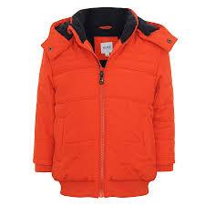 baby boys hooded puffa coat in orange