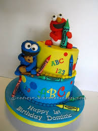 1st Birthday Cake With Baby Elmo And Cookie Monster