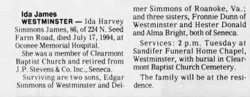 Obituary for Ida Harvey James James (Aged 86) - Newspapers.com