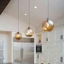 modern amber glass dome shade pendant