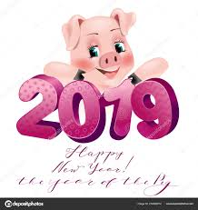 Happy New Year Card 2019 Funny Pig Happy New Year Stock Vector