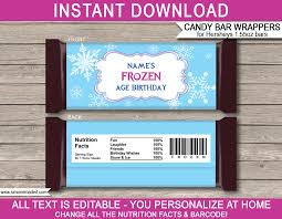 Personalized Candy Bar Wrapper Template Frozen Hershey Candy Bar Wrappers Template
