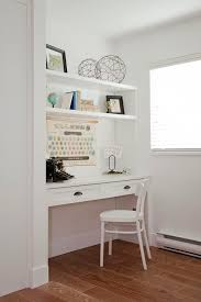 great idea for a small home office built in desk for a laptop simple floating shelves and accessories