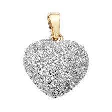 pave set diamond heart pendant in 9ct yellow gold 0