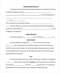 Sample Roommate Contract Sample Roommate Agreement Form 12 Free Documents In Word Pdf