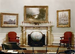 oval office fireplace. Photograph Of Fireplace And Furniture In President Truman\u0027s Oval Office At The White House, With A Portrait Simon Bolivar Over Mantelpiece, \u2026