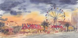 perhaps my favorite painting from my summer in north myrtle beach sc sunset carnival ilrates the life and energy given off by the carnival that lies