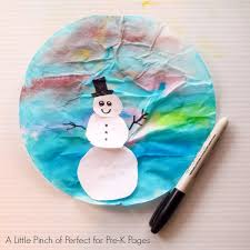 Place two coffee filters flat on top of each other on a piece of wax paper. Snowmen At Night Coffee Filter Art Pre K Pages