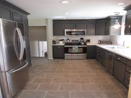 Gray Stained Kitchen Cabinets White Tile Pattern Ceramic Countertops Gray Kitchen Cabinets