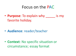 students first focus on the pac and use color p red a blue  focus on the pac purpose to explain why is my favorite holiday