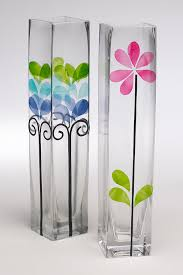 creative idea tall clear fl pattern vase glass painting room decorations briliant glass vase