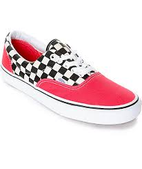 vans shoes red and white. vans era 2-tone checkered red \u0026 white skate shoes and e