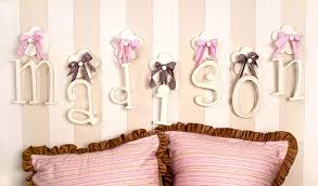 ideas of wooden letters design for baby room hanging wooden wall letters with pink ribbon