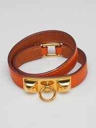 czech hermes orange epsom leather gold plated rivale double tour bracelet xs 9543b fb4f1