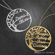 whole custom family tree cutout name necklace stainless steel gold color personalized family names branches family keepsake mothe s necklace statement