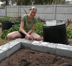 a mosaic cinder block garden bed