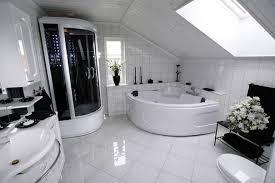 big bathroom designs. Luxury Bathroom Design White Vessel Bath Sink Big Wall Mirror Shower Glass Door Cream Grey Colors Designs S