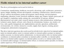 18 fields related to iso internal auditor career the above job description internal auditors job description