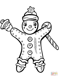 Christmas Gingerbread With Candy Cane And Bell Coloring Page Bells