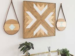 brown and turquoise wall art best of round geometric reclaimed wood and brown leather wall art