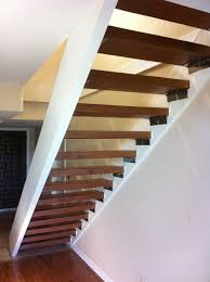 Lovely Straight Floating Stairs With Wooden Foot Step Stairway System To  Decorate Small Space Interior Designs