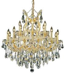 elegant lighting 2801d30g rc maria theresa 19 light 30 inch gold dining chandelier ceiling light in clear royal cut