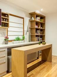 kitchen contemporary single wall um tone wood floor kitchen idea in brisbane with flat