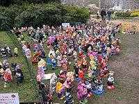 garden gnomes gathered in floriade canberra