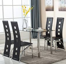 glass dining room set. 5 Piece Glass Dining Table Set 4 Leather Chairs Kitchen Room Breakfast Furniture