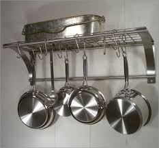 Photo of Rainsford & Gale Epicure Stainless Steel Wall Pot Rack Set (All Pot  Racks