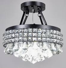 top 42 wicked flush mount crystal chandelier new legend lighting light semi antique black finish ceiling