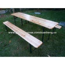 china outdoor wooden beer table with umbrella hole