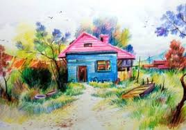 colour pencil drawing of scenery image scenery draw in colour pencil