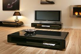 impressive black living room table and coffee table contemporary design black glass wood coffee table