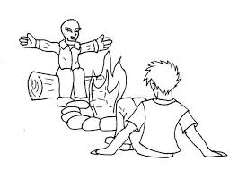 Small Picture Telling Story Summer Camp Campfire Coloring Page Download