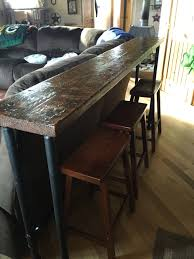Wood Bar Top Behind The Couch Bar Top 1 Inch Pipe And 2x12 Stained Wood Top