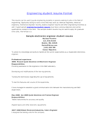 Cv Samples For Engineering Students Cv For Engineering Student Free Resume