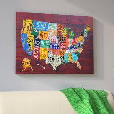 usa recycled license plate map vii by design turnpike graphic art print  on license plate map wall art with east urban home usa recycled license plate map vii by design