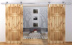 pine double track barn door hardware