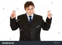 Smiling Young Businessman Showing Air Quotes Stock Photo Edit Now