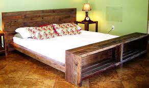 rustic varnished used pallet wood bed frame with storage footboard