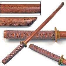 Hardwood Training Wooden Sword Natural Bokken With Beige Cord Wrap
